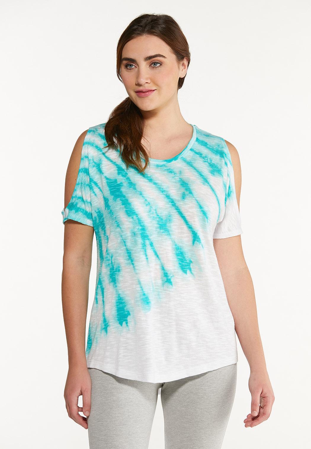 Plus Size Cold Shoulder Tie Dye Top