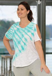 Plus Size Cold Shoulder Tie Dye Top