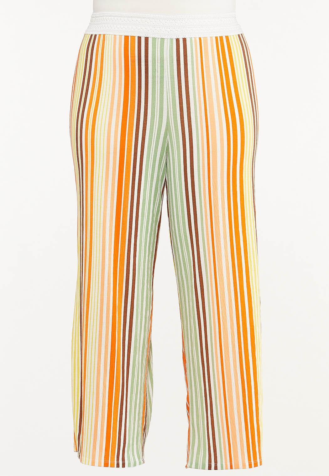 Plus Size Melon Stripe Wide Leg Pants
