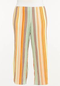 Plus Petite Melon Stripe Wide Leg Pants