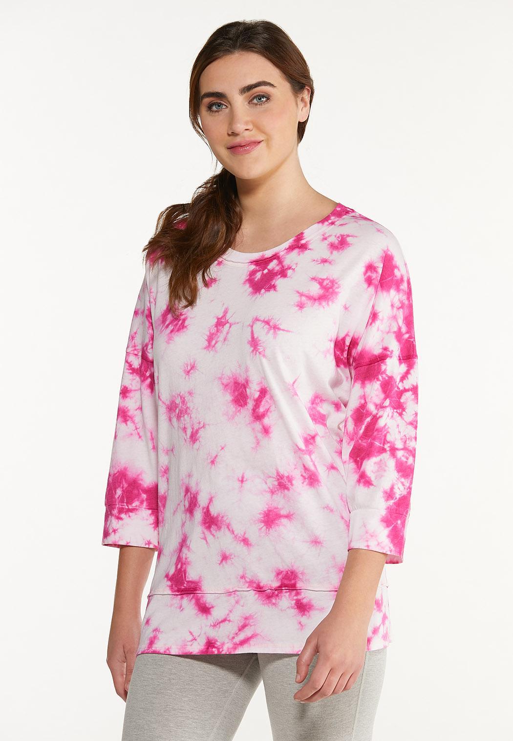 Plus Size Pink Tie Dye Top