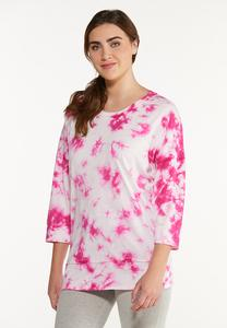 Plus Size Pink Tie Dye Top