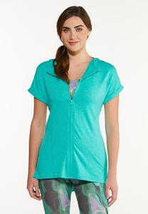Plus Size French Terry Zippered Top