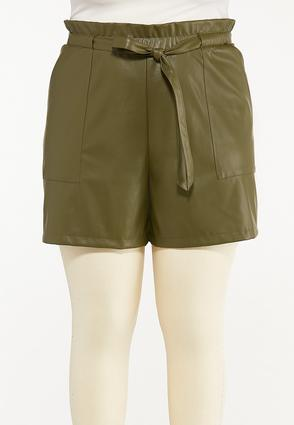 Plus Size Olive Faux Leather Shorts