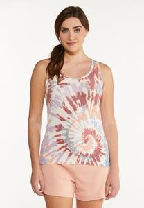 Plus Size Tie Dye Ribbed Tank