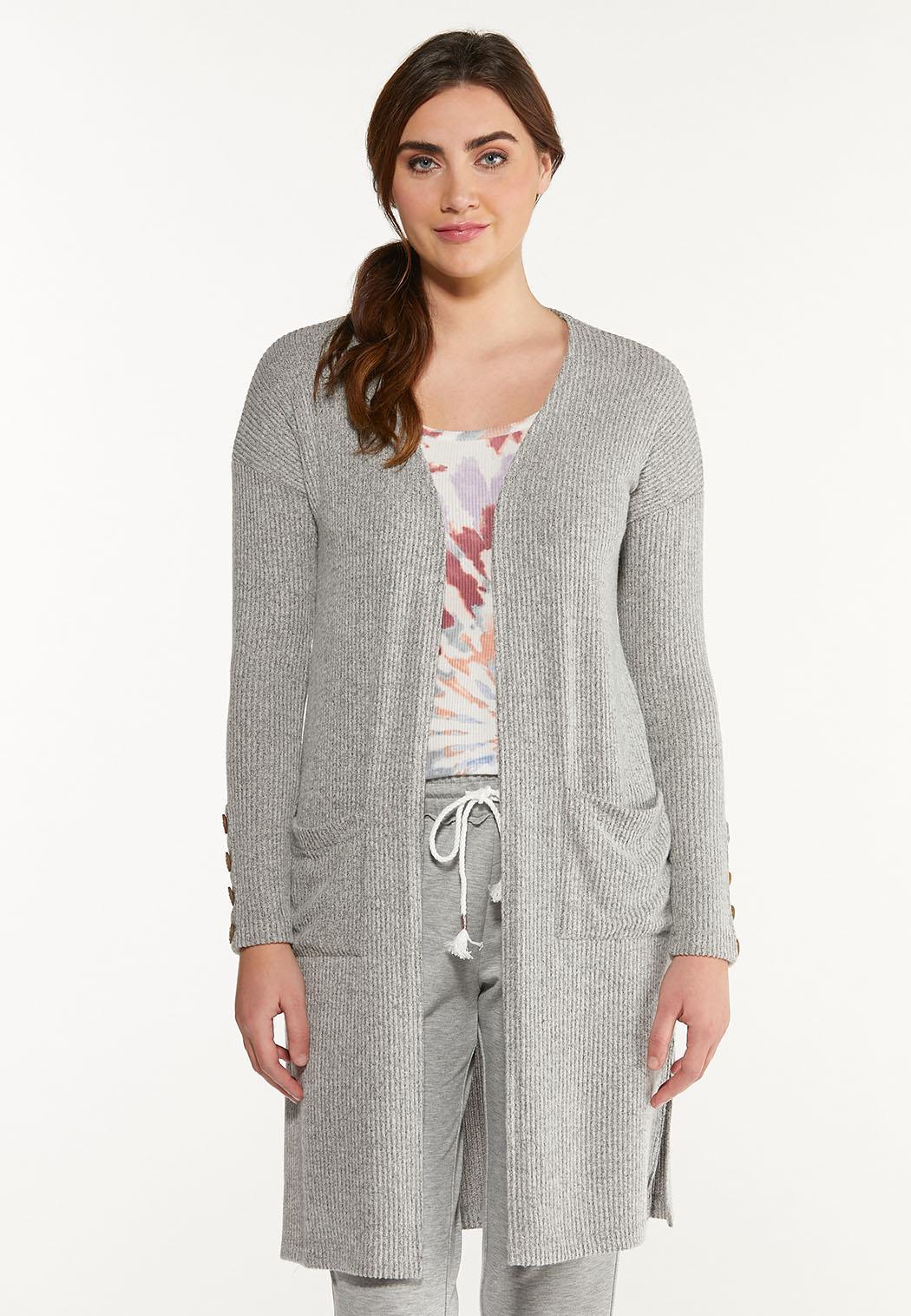 Plus Size Cozy Ribbed Cardigan