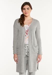 Plus Size Cozy Ribbed Cardigan