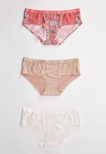 Plus Size Floral Hipster Panty Set