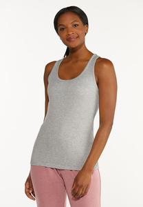 Plus Size Gray Ribbed Tank