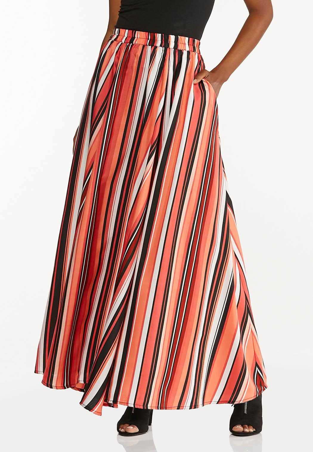 Spicy Striped Maxi Skirt
