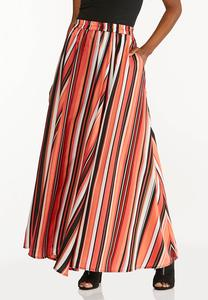 Plus Size Spicy Striped Maxi Skirt