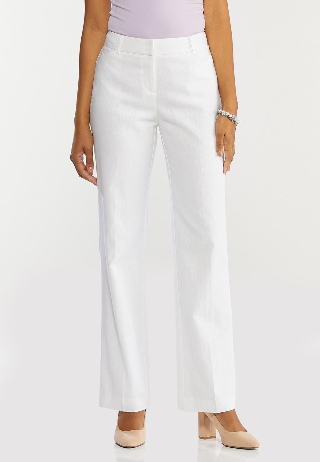 Petite White Linen Trouser Pants