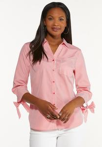 Tie Sleeve Button Down Top