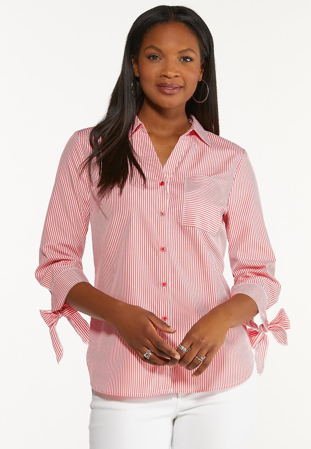 Plus Size Tie Sleeve Button Down Top