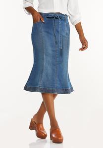 Plus Size Tulip Denim Skirt