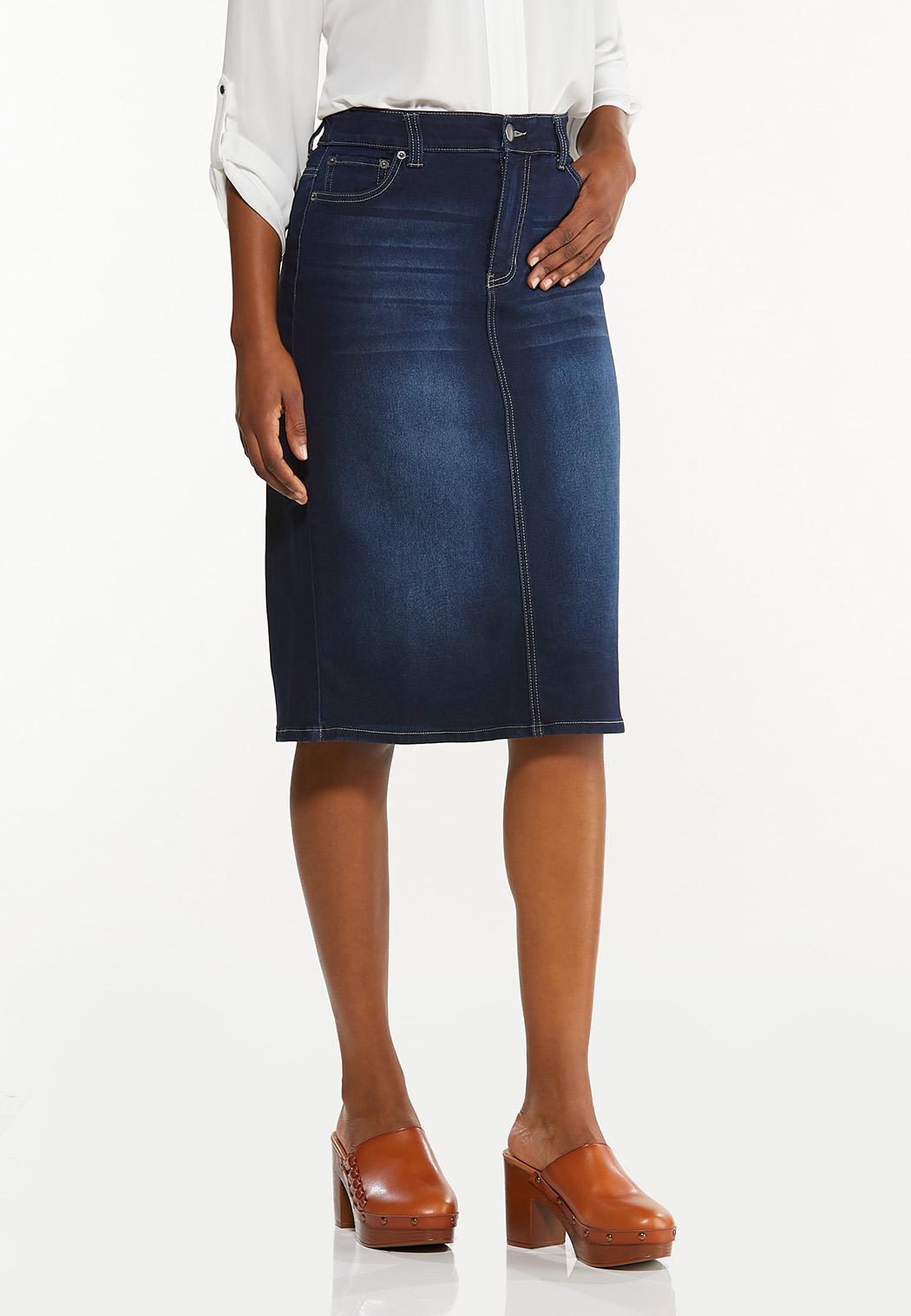 Classic Dark Wash Denim Skirt