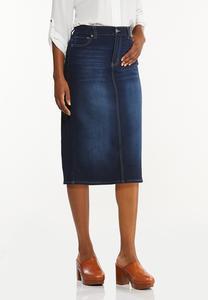 Plus Size Classic Dark Wash Denim Skirt