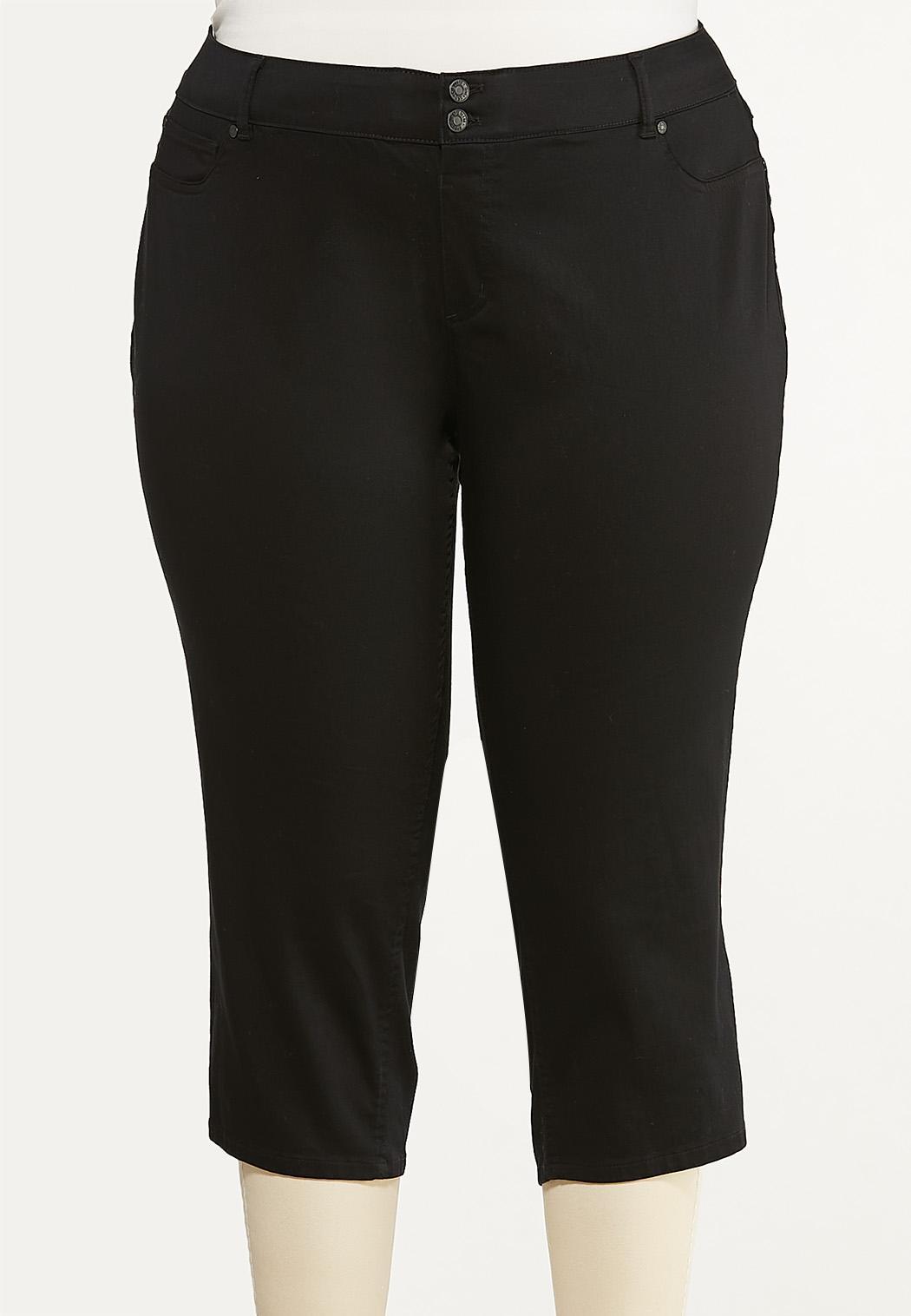 Plus Size Cropped Black Jeans