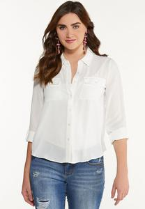 Plus Size Bright White Equipment Top