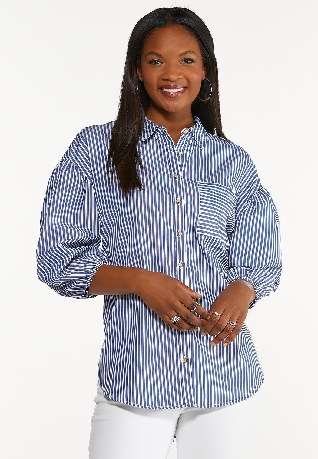 Plus Size Stripe Puff Sleeve Top