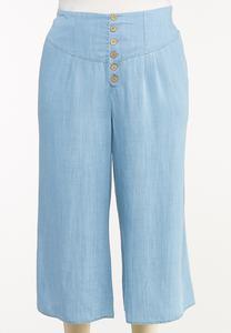 Plus Size Cropped Chambray Pants