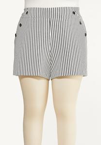 Plus Size Striped Button Shorts