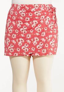 Plus Size Daisy Tie Waist Skort