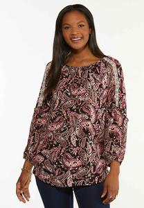 Plus Size Balloon Sleeve Paisley Poet Top
