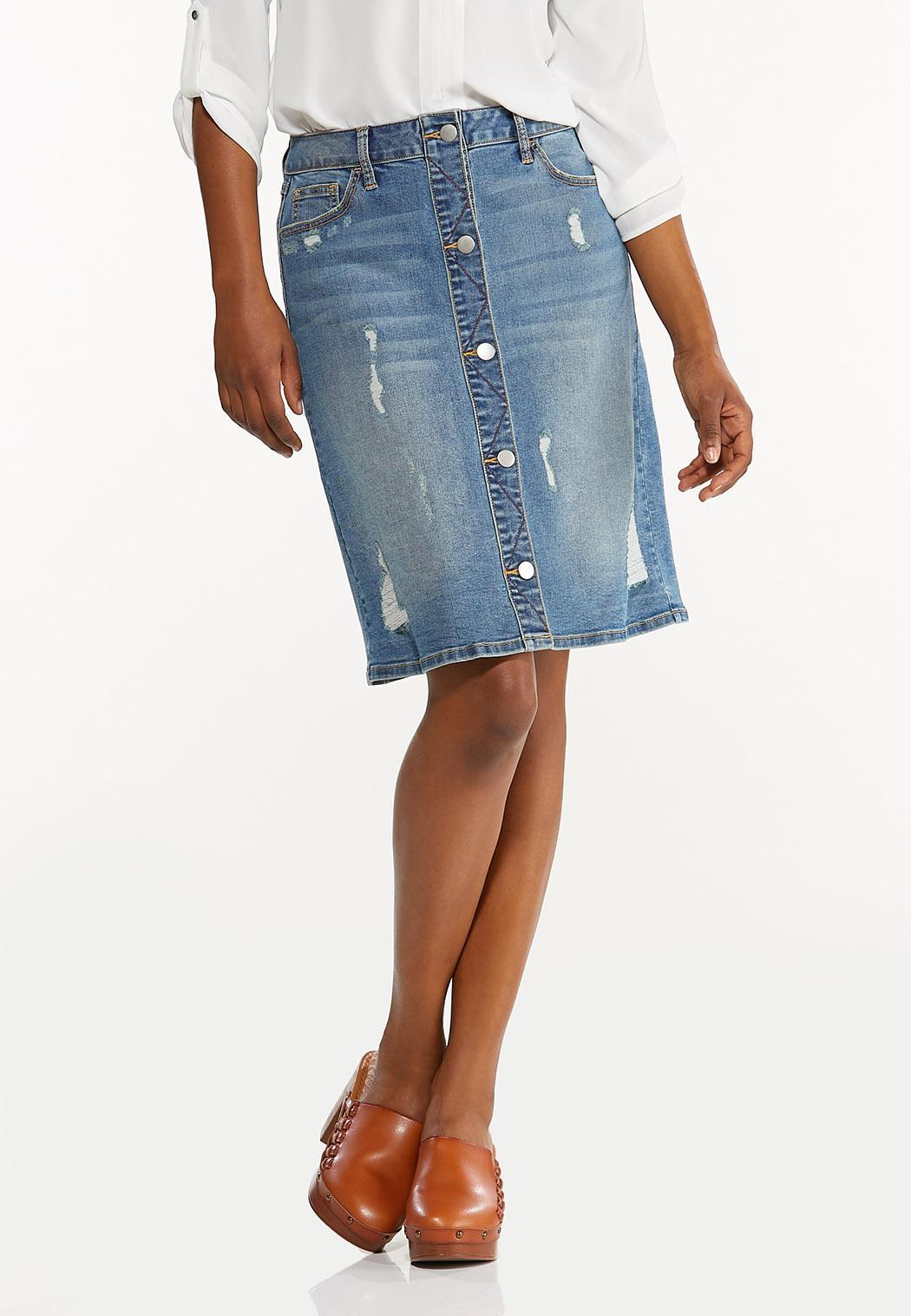 Plus Size Destructed Denim Skirt