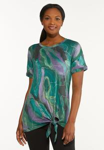 Plus Size Knotted Abstract Tee