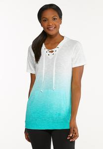 Plus Size Lace Up Ombre Top