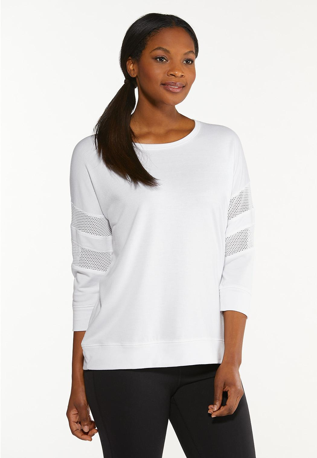 Plus Size White Lace Inset Sweatshirt