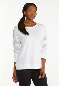 Plus Size White Lace Inset Sweatshirt