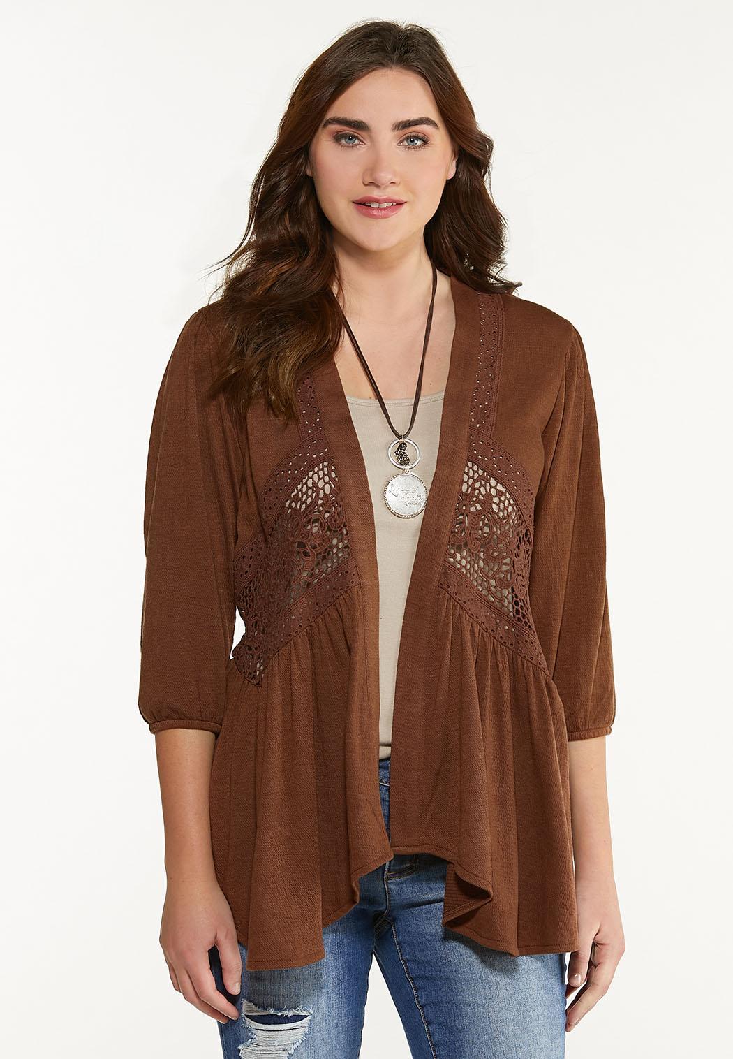 Plus Size Brown Crochet Cardigan