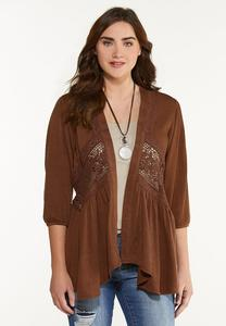Plus Size Brown Crochet Cardigan
