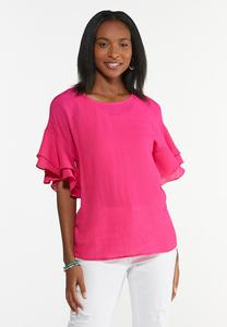 Plus Size Flouncy Sleeve Top