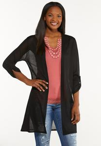 Plus Size Sheer Longline Cardigan