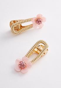 Flower Pearl Barrette Set