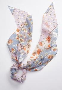 Floral Scarf Ponytail Scrunchie