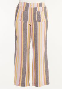 Plus Size Striped Linen Pants
