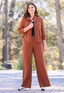 Plus Size Patch Pocket Linen Pants