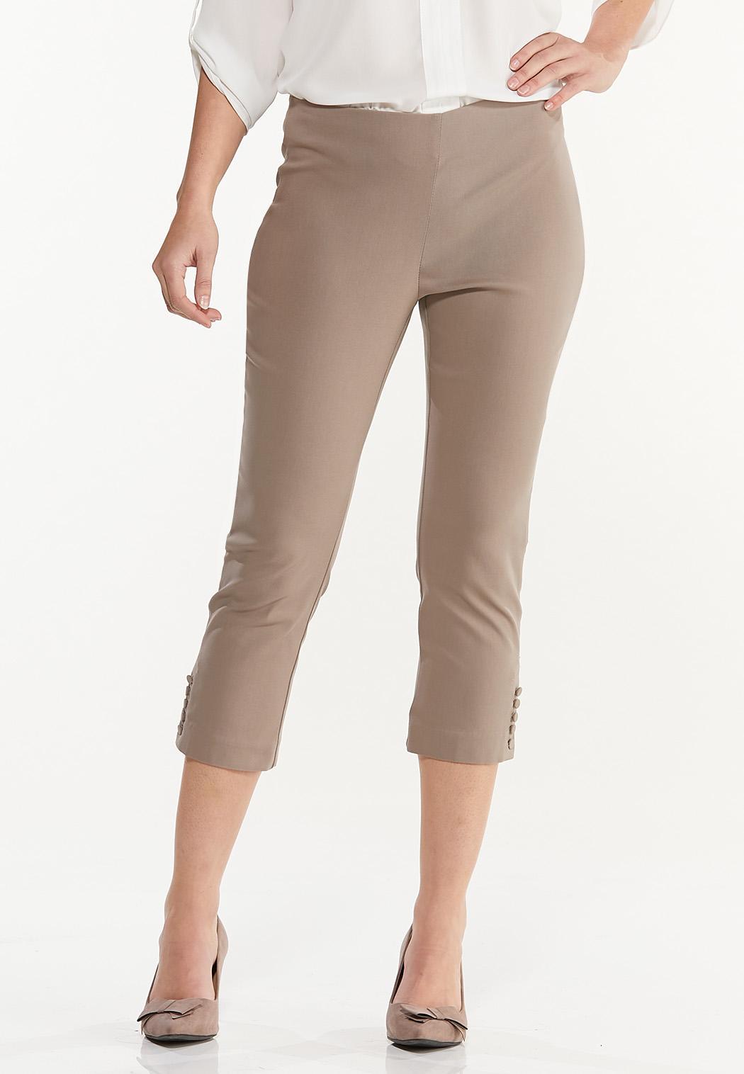 Button Hem Cropped Bengaline Pants