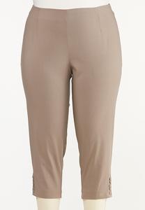 Plus Size Button Hem Cropped Bengaline Pants