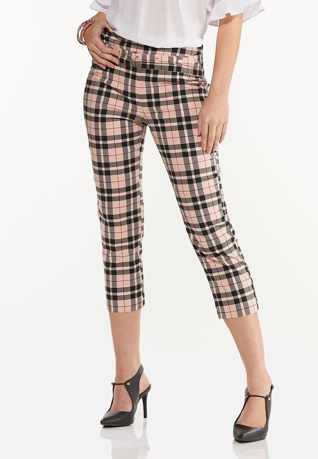 Pink Plaid Cropped Bengaline Pants