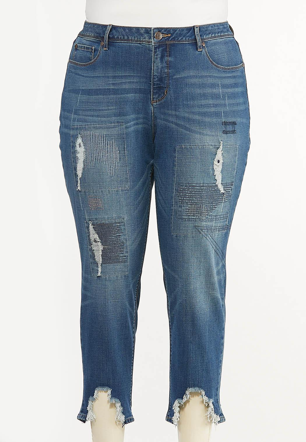 Plus Size Distressed Embroidered Jeans