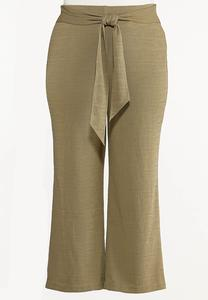 Plus Size Textured Self-Tie Pants