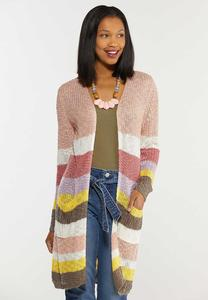 Plus Size Sweet Stripe Cardigan Sweater