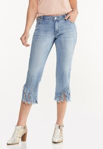 Twist Frayed Hem Cropped Jeans