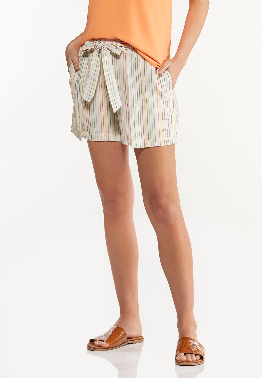 Rainbow Stripe Linen Shorts