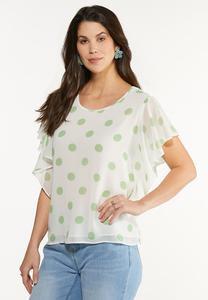Plus Size Ruffled Polka Dot Top